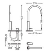 Miscelatore monocomando per lavabo alto in batteria PROJECT-TRES
