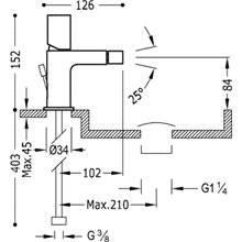 Rubinetto per bidet miscelatore monocomando acciaio PROJECT TRES