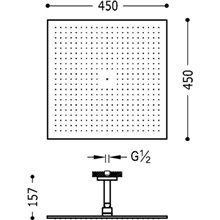 Soffione doccia 45x45 con braccio a soffitto TRES