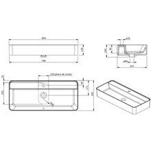 Lavabo rettangolare sospeso Sanlife 80x35