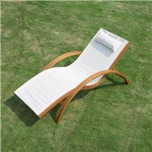 Sedia a sdraio bianca in legno Outsunny