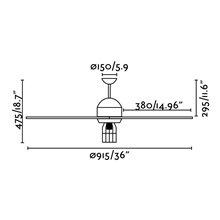 Ventilatore nero con luce CHICAGO di Faro