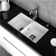 Lavello con 2 vasche bianco 75 x 45 cm Zie Poalgi