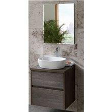Set mobile con 2 cassetti per lavabo da appoggio e specchio DECO LINE Sanchis