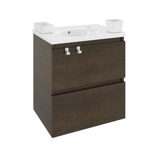 Mobile con lavabo in resina 60 cm Rovere cioccolato B-Box BATH+