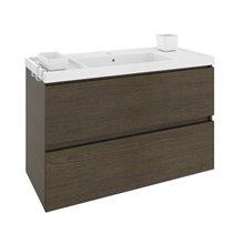 Mobile con lavabo in resina 100 cm Rovere cioccolato B-Box BATH+