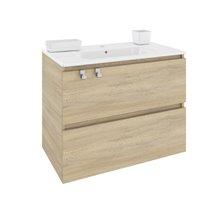 Mobile con lavabo rettangolare in porcellana 80 cm Rovere naturale B-Box BATH+