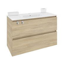Mobile con lavabo rettangolare in porcellana 100 cm Rovere naturarale B-Box BATH+