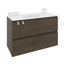 Mobile con lavabo rettangolare in porcellana 100 cm Rovere cioccolato B-Box BATH+