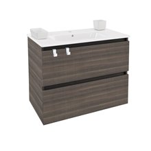 Mobile con lavabo rettangolare in porcellana 80 cm Frassino B-Box BATH+