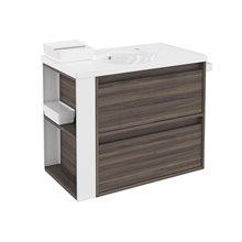 Mobile con lavabo in porcellana 80 cm Frassino/Bianco 2 cassetti B-Smart BATH+
