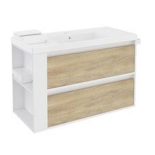 Mobile con lavabo in resina 100 cm Bianco-Rovere naturale/Bianco 2 cassetti B-Smart BATH+