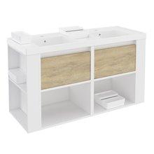 Mobile con lavabi in resina 120 cm Bianco-Rovere naturale/Bianco B-Smart BATH+