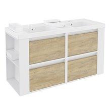 Mobile con lavabi in resina 120 cm Bianco-Rovere naturale/Bianco 4 cassetti B-Smart BATH+