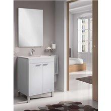 Mobile con lavabo e specchio bianco lucido...
