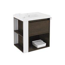 Mobile con lavabo in resina 60 cm Rovere cioccolato/Bianco B-Smart BATH+