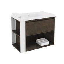 Mobile con lavabo in resina 80 cm Rovere cioccolato/Bianco B-Smart BATH+