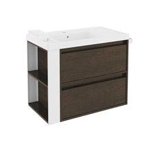 Mobile con lavabo in resina 80 cm Rovere cioccolato/Bianco 2 cassetti B-Smart BATH+