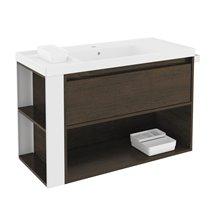 Mobile con lavabo in resina 100 cm Rovere cioccolato/Bianco B-Smart BATH+