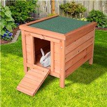 Conigliera esterna in legno PawHut