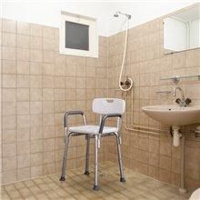Sgabello da bagno regolabile con schienale Homcom