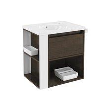 Mobile con lavabo in porcellana 60 cm Rovere cioccolato/Bianco B-Smart BATH+