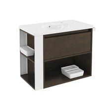 Mobile con lavabo in porcellana 80 cm Rovere cioccolato/Bianco B-Smart BATH+