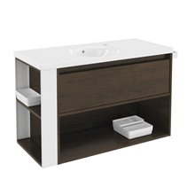 Mobile con lavabo in porcellana 100 cm Rovere cioccolato/Bianco B-Smart BATH+