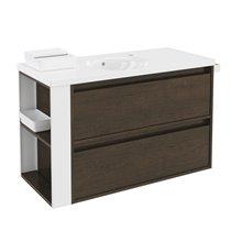 Mobile con lavabo in porcellana 100 cm Rovere cioccolato/Bianco 2 cassetti B-smart BATH+