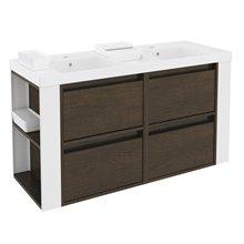 Mobile con lavabi in resina 120 cm Rovere cioccolato/Bianco 4 cassetti B-Smart BATH+