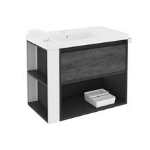 Mobile con lavabo in resina 80 cm Antracite-Frontale ardesia naturale/Bianco B-Smart BATH+