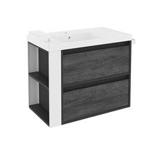 Mobile con lavabo in resina 80 cm Antracite-Frontale ardesia naturale/Bianco 2 cassetti B-Smart BATH+