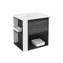Mobile con lavabo in porcellana 60 cm Antracita-Frontale ardesia naturale/Bianco B-Smart  BATH+