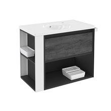 Mobile con lavabo in porcellana 80 cm Antracite-Frontale ardesia naturale/Bianco B-Smart BATH+
