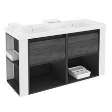 Mobile con lavabi in resina 120 cm Antracite-Frontale ardesia naturale/Bianco B-smart BATH+