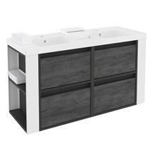 Mobile con lavabi in resina 120 cm Antracite-Frontale ardesia naturale/Bianco 4 cassetti B-Smart BATH+
