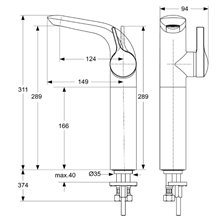 Miscelatore monocomando per lavabo 289 Melange Ideal Standard