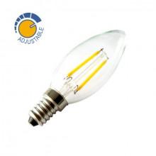 Lampadina con filamento LED candela da 2 W