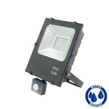 Riflettore LED quadrato nero 50 W con sensore