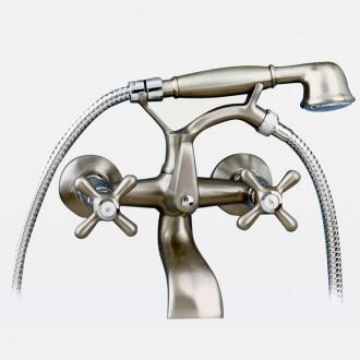 Rubinetto per vasca da bagno Lux nichel con accessori per doccia PINTA