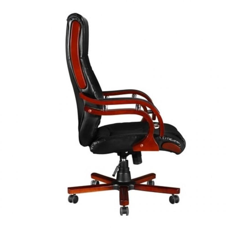 Sedia poltrona ufficio girevole direzionale pelle e legno ...