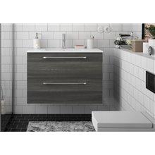 Mobile bagno 81 cm 2 cassetti grigio lucido FUSSION CHROME SALGAR