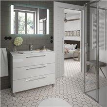 Mobile bagno 101 cm bianco lucido 3 cassetti FUSSION CHROME SALGAR