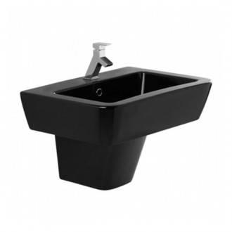 Lavabo nero ADVANCE 65 con semipiedistallo