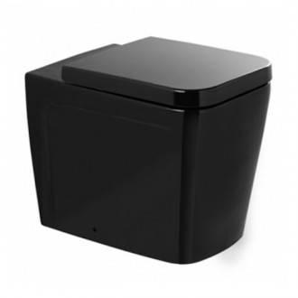 Vaso Advance nero a pavimento con cassetta alta o incassata