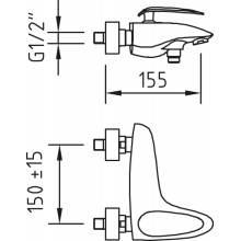Rubinetto vasca-doccia AUDE con set doccino