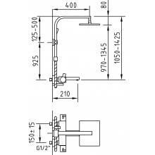 Colonna vasca-doccia termostatica estensibile Bimini