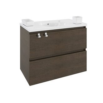 Mobile con lavabo in  porcellana 80 cm Rovere cioccolato B-Box BATH+