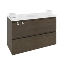 Mobile con lavabo in porcellana 100 cm Rovere cioccolato B-Box BATH+