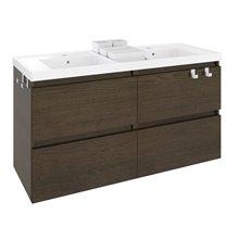 Mobile con lavabo in resina 2 vasche 120 cm Rovere cioccolato B-Box BATH+